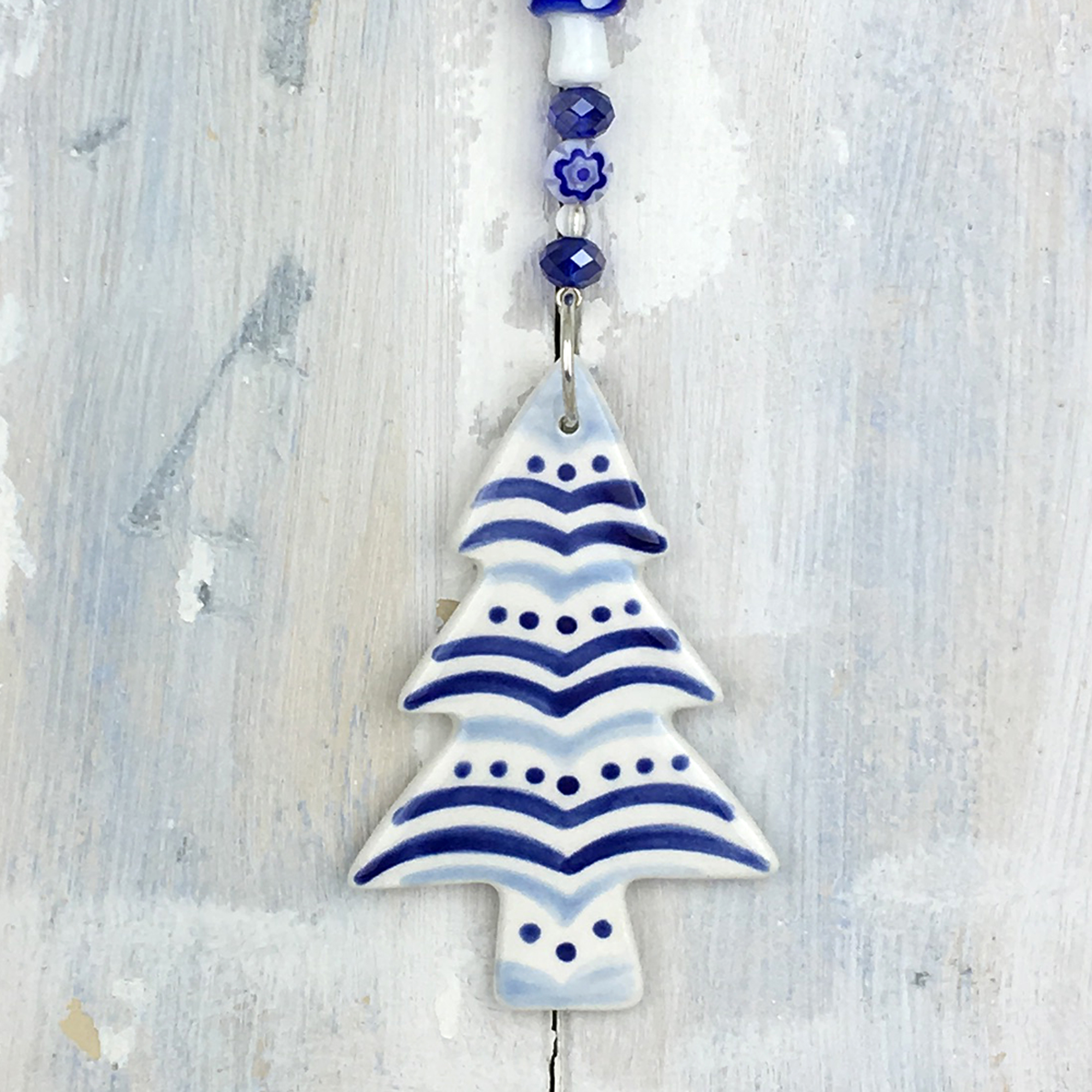Blue Christmas Tree 2019 Decoration Handmade In The Uk
